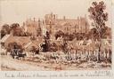 Vue du Château d'Ecouen prise de la route de Luzarches : [dessin]
